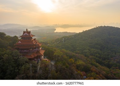 Aerial photography scenery of  Wuhan East Lake of Hubei province,China.East Lake Scenic Area of Wuhan