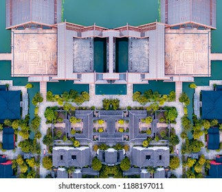 Aerial photography Shanghai Guangfulin Cultural and Historic Site Architectural Scenery
