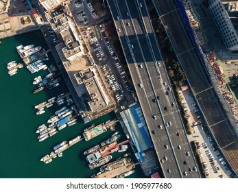 Aerial photography of ships at Qingdao Port