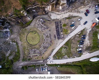Aerial Photography Shot of Parking Area in Tebing breksi Yogyakarta