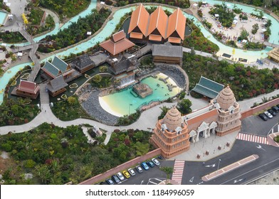 Aerial photography of Siam Park on the coast of Adeje, Tenerife, Canary Islands