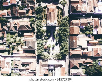 Aerial photography of small city in the country of Brazil.