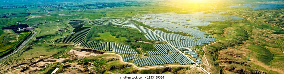 Aerial photography of solar photovoltaic outdoors