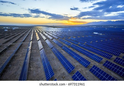 Aerial photography at sunrise when solar photovoltaic