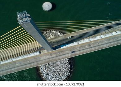 Aerial photography Suspension bridge tower inspection Sunshine Skyway Tampa Bay Florida
