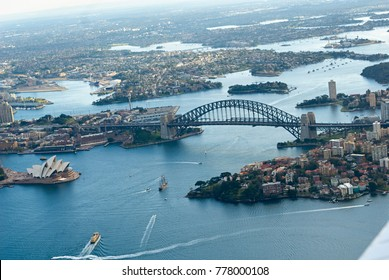 Aerial photography of Sydney Harbour, Australia photographed from a plane.