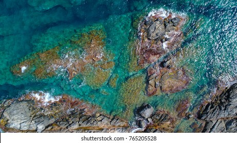 Aerial photography tropical blue lagoon paradise , top view