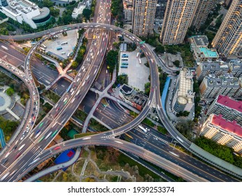 Aerial photography of urban road overpass in Fuzhou, China