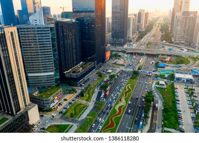 Aerial photography of urban traffic by drones