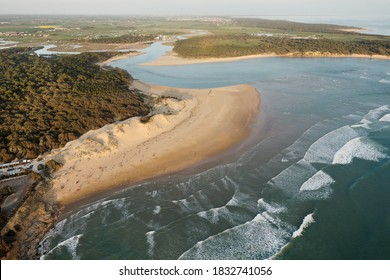 Aerial photography of the Veillon beach in Talmont-Saint-Hilaire 85440, located in the west of the Vendée, in the Pays de la Loire region, France.