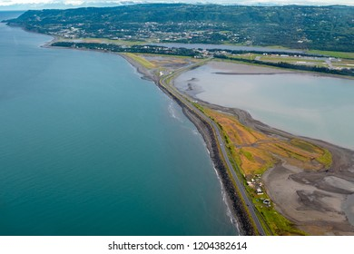Aerial photography view of the Homer Spit, in Homer Alaska