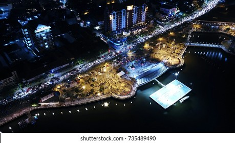 Aerial Photograpy - Beautiful view drone landmark city makassar in night