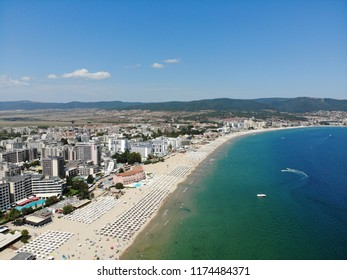 Aerial photos of the beautiful coastal Sunny Beach and Nesebar in Bulgaria taken with a drone.