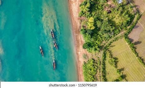 Aerial photos of boats in Bangladesh
