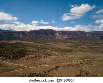 Aerial photos of Colorado mesa desert hills fall season
