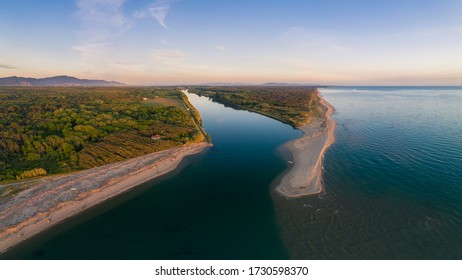 Aerial photos of the mouth of the river Serchio at the goldenhour