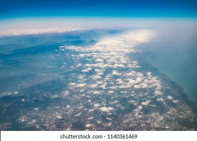 Aerial photos from plane near Cyprus, above Mediterranean sea