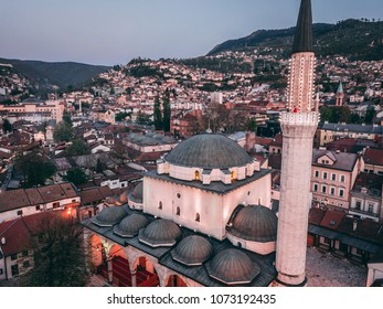Aerial photos of the Sarajevo, capital of Bosnia and Herzegovina. Photos are made during golden hour. In the shift of  day and night.