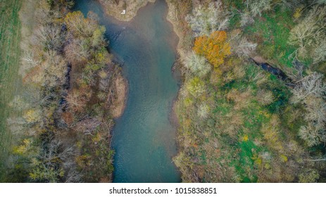 Aerial photos of Tennessee river during fall