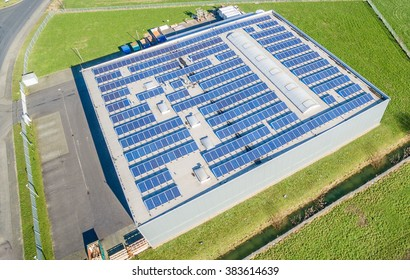 Aerial of a photovoltaic power plant on a roof