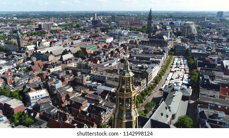 Aerial picture of the Aa-kerk tower this church is historic parish church in centre of Groningen and dominant feature in skyline of the city together with the nearby Martinitoren
