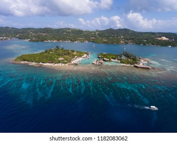 Aerial picture from above small island in Roatan Honduras