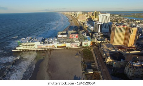 Aerial picture. Atlantic city New Jersey, USA, May 05, 2017.  Sunrise at Atlantic City. Casino resorts.