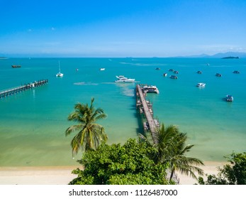 Aerial picture of Bangrak bay and pier looking at the sea, koh samui, Thailand