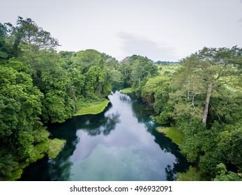 Aerial picture of Blue River / Tulu river / Niari river , western Africa, Congo.