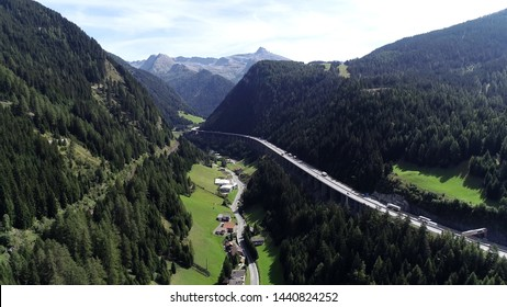 Aerial picture of Brenner Pass in Italian Passo del Brennero is a mountain road through Alps which forms border between Italy and Austria and is one of principal passes of Eastern Alpine range