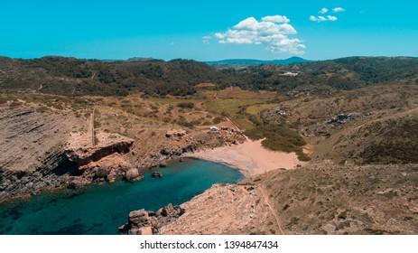 Aerial picture of Cala Calderer (Menorca)