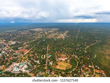 Aerial picture of the city of Victoria Falls  in Zimbabwe