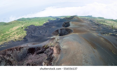 Aerial picture of craters, Mount Cameroon volcano, West Africa, Cameroon.