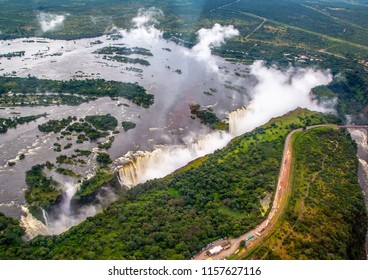 Aerial picture of the famous Victoria Falls between Zambia and Zimbabwe