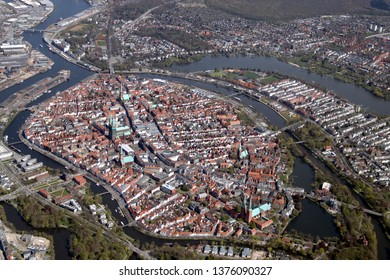 Aerial Picture of the Hanseatic City of Lübeck (Luebeck) – Germany 2019