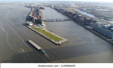 Aerial picture of Java-eiland in english Java Island is neighbourhood of Amsterdam Netherlands and located on peninsula surrounded on three sides by water and on east by KNSM Island neighbourhood