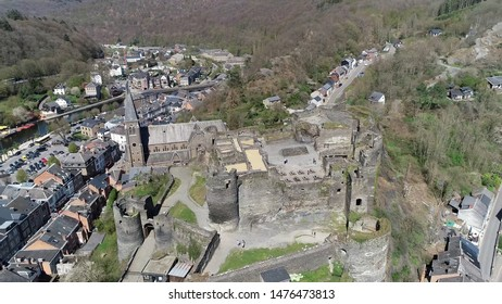 Aerial picture of la Roche en Ardenne castle located in eponymous Walloon municipality of Belgium in province of Luxembourg the small town is one of the most popular tourist destinations in Ardennes
