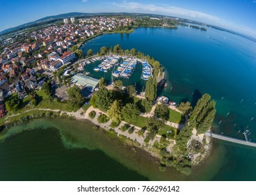 Aerial picture of the landscape of the Lake Constance or Bodensee in Germany