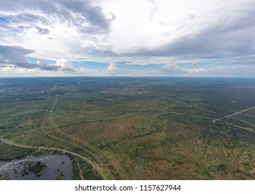 Aerial picture of the landscape of Zambia near river Sambesi