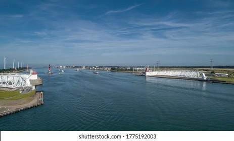 Aerial picture of Maeslantkering storm surge barrier on the Nieuwe Waterweg