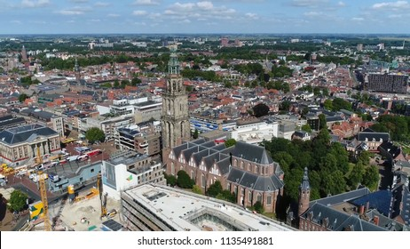 Aerial picture of Martinitoren highest church steeple in city of Groningen Netherlands and bell tower of Martinikerk it is located at the north-eastern corner of Grote Markt Main Market Square