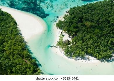 Aerial picture of Mauritius Island, l'ile aux Cerfs and the beautiful lagoon of Mauritius
