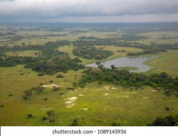 Aerial picture of the Okavango Delta in Botswana during summer period