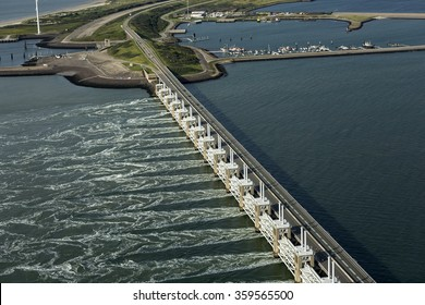 Aerial picture of the Oosterscheldekering, a storm surge barrier which is part of the delta works to protect Holland from high sea level