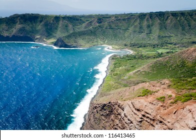 Aerial picture of a part of Molokai island coast, Hawaii