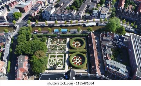 Aerial picture Prinsentuin in English Prince's garden or Prinsenhoftuin is garden built in renaissance style that is located in Groningen behind Prinsenhof in northern part of Holland