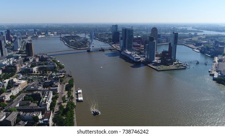 Aerial picture of Rotterdam city in Netherlands in South Holland its history goes back to 1270 when dam was constructed in Rotte this city is major logistic and economic centre Europe's largest port