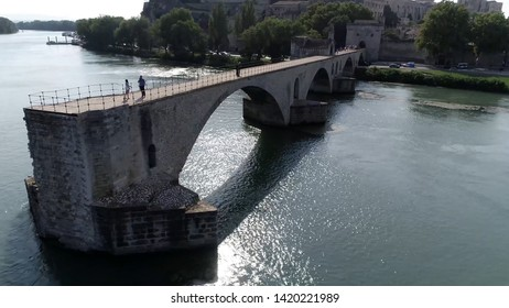 Aerial picture of Saint Bénézet also known as the Pont d'Avignon is a famous medieval bridge over the Rhone in the town of Avignon in southern France and a popular tourist attraction