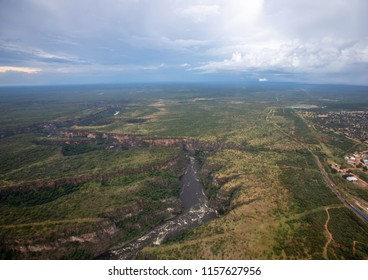 Aerial picture of the sambesi river short after the famous Victoria Falls in Zimbabwe