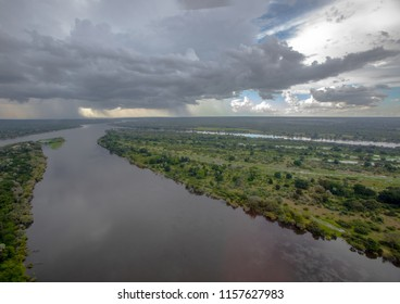 Aerial picture of the sambesi river short before the famous Victoria Falls in Zimbabwe
